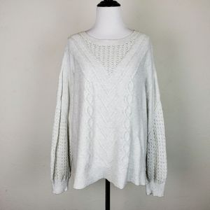 Lucky Brand Cable Knit Chenille Lace Sweater